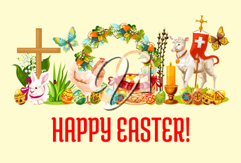 Happy Easter Day greeting banner. Painted Easter eggs, rabbit bunny, chicken with chick, egg hunt basket with ribbon, floral Easter wreath with spring flowers and butterfly, lamb of God, cross, candle