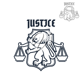 Legal icon or justice and law vector emblem of heraldic lion and justice scales on shield. Advocacy and legal center symbol or sign for advocate and justice attorney office, counsel and notary