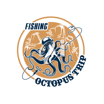 Octopus fishing trip vector icon with hooks tackle and fishnet snare or scoop-net grid and ocean underwater animal. Emblem for fishery or seafood company, fisherman or fisher trip sport adventure club