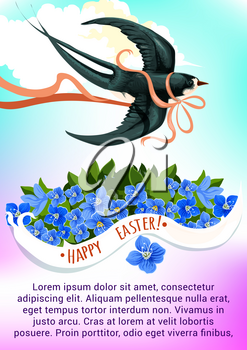 Easter spring holidays greeting card with flying swallow bird and flowers of forget-me-not with Happy Easter ribbon banner on blue sky background. Easter bird and flower for festive poster design
