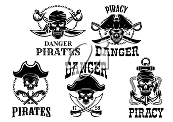 Pirate and Jolly Roger vector isolated icons set of captain skull in tricorne hat and eyepatch or bandana. Piracy sailor or robber symbols or emblems of swords, sabers and pistol guns, ship anchor and