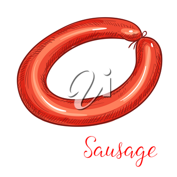 Sausage circle vector icon of isolated meat barbecue or grill delicatessen of bratwurst or pepperoni. Bacon kielbasa and smoked ham chorizo or saucisson for gourmet gastronomy or butchery shop
