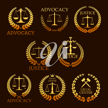 Justice and advocacy vector gold icons set for legal center. Heraldic emblems of law scales and judge gavel or laurel wreath. Golden signs for legal center, advocate or court lawyer and judicial right