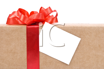 Royalty Free Photo of a Cardboard Box With a Red Bow