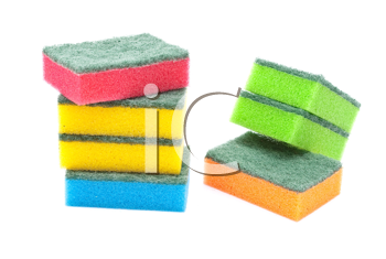 Multi-coloured kitchen sponges
