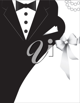 costumes for weddings, design for invitation card. wedding banner with a bride and a groom.