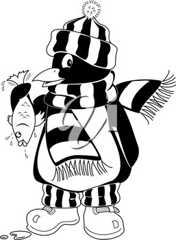 Royalty Free Clipart Image of a Warmly Dressed Penguin Holding a Fish