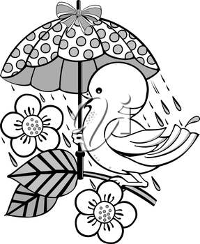 Royalty Free Clipart Image of a Bird and Flower Under an Umbrella