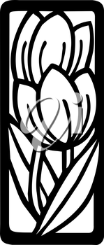 Royalty Free Clipart Image of a Flower in a Frame