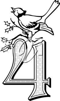 Royalty Free Clipart Image of One of Four Calling Birds