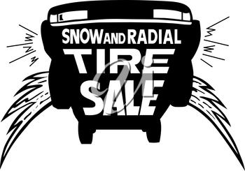 Royalty Free Clipart Image of a Tire Sale Promo