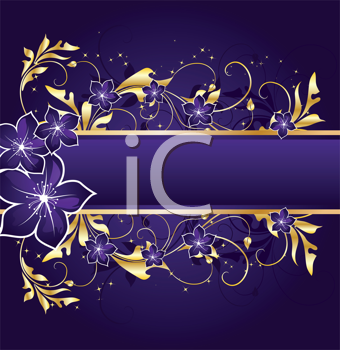 Royalty Free Clipart Image of a Purple and Gold Background