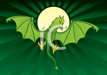 Royalty Free Clipart Image of a Flying Dragon Against a Moon