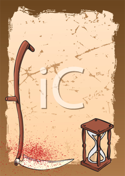 Royalty Free Clipart Image of a Sickle and Hourglass