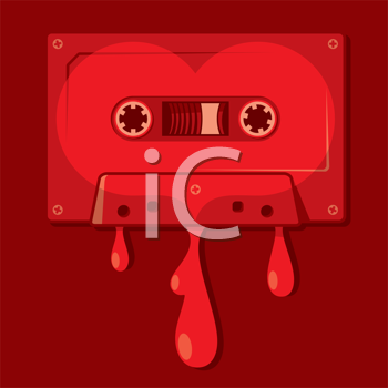 Royalty Free Clipart Image of a Bleeding Heart Audio Cassette