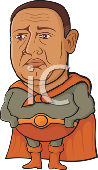 Royalty Free Clipart Image of an Overweight Middle-Aged Superhero