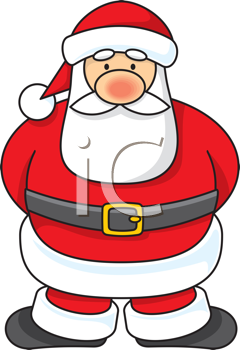 Royalty Free Clipart Image of a Cartoon Santa