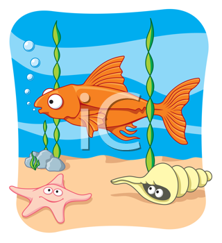 Royalty Free Clipart Image of a Fish Underwater