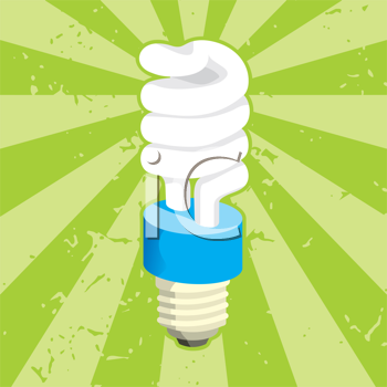 Royalty Free Clipart Image of a Lightbulb on Green