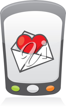 Royalty Free Clipart Image of a Cellphone With an Envelope and Heart
