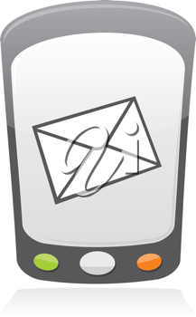 Royalty Free Clipart Image of an Envelope on a Mobile Phone
