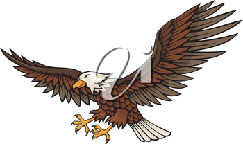 Royalty Free Clipart Image of an Eagle Attacking