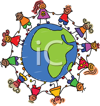 Royalty Free Clipart Image of Children Around a Globe Showing Africa