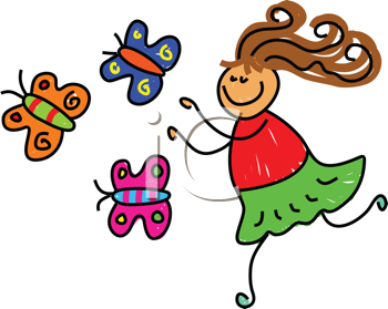 Royalty Free Clipart Image of a Girl Chasing Butterflies