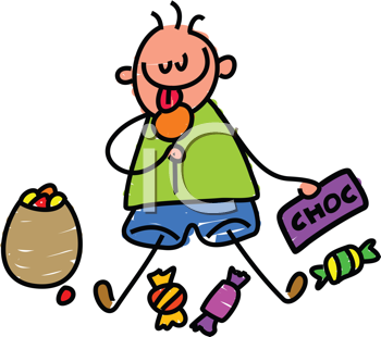 Royalty Free Clipart Image of a Kid Eating Chocolate
