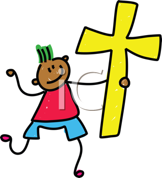 Royalty Free Clipart Image of a Boy With a Cross