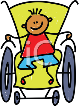 Royalty Free Clipart Image of a Boy in a Wheelchair