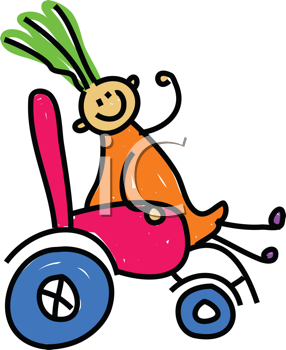 Royalty Free Clipart Image of a Girl in a Wheelchair