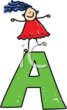 Royalty Free Clipart Image of a Girl on an A