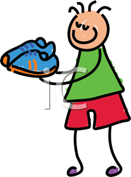 Royalty Free Clipart Image of a Boy With Sneakers