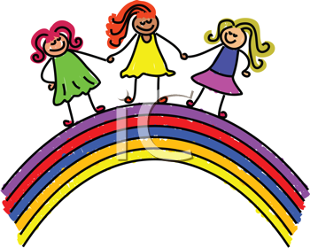 Royalty Free Clipart Image of Girls on a Rainbow