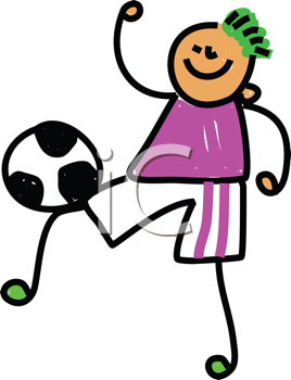 Royalty Free Clipart Image of a Boy Playing Soccer