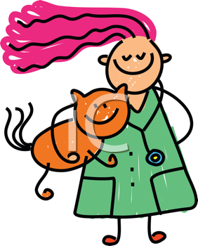 Royalty Free Clipart Image of a Girl With a Cat