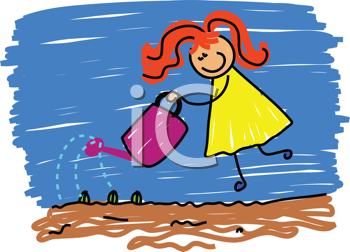 Royalty Free Clipart Image of a Girl Watering Plants