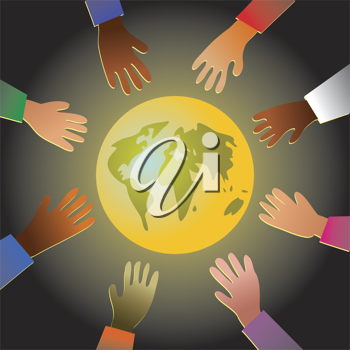 Royalty Free Clipart Image of Hands Reaching to the World