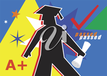 Royalty Free Clipart Image of a Graduation Design