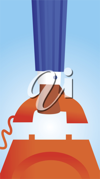 Royalty Free Clipart Image of a Person Picking up a Phone