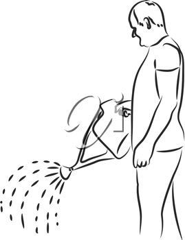 Royalty Free Clipart Image of a Man Holding a Watering Can