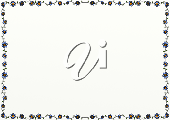 A hand drawn floral doodle style page border decoration with copy space.