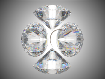 Royalty Free Clipart Image of Four Brilliant Cut Diamonds