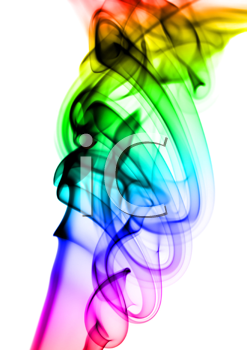 Abstract colorful smoke patterns over the white background