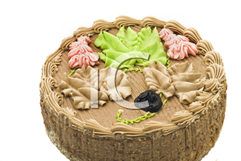 Birthday chocolate cake with creamy leaves over white