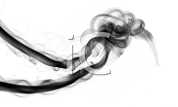 Black smoke Abstract over the white background