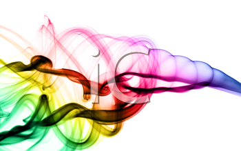 Filled with color Abstract smoke pattern over the white background