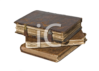 History - Three Old frayed books isolated over white background