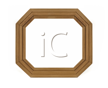 Octagonal wooden Frame for picture or portrait isolated